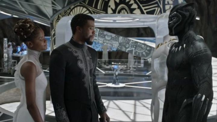 The tunic of Thee Challa (Chadwick Boseman) in the movie the Black panther Movie