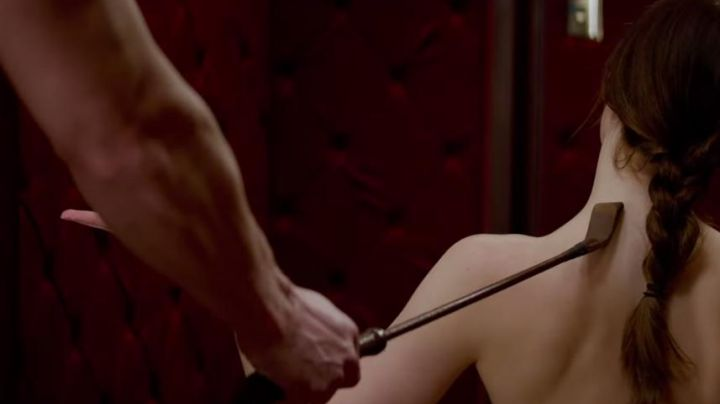 The whip of Christian Grey (Jamie Dornan) in Fifty Shades of Grey movie