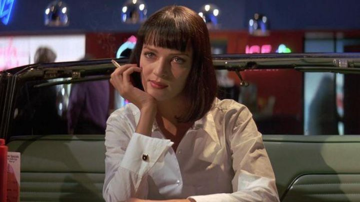 The white shirt Agnes B. of Mia Wallace (Uma Thurman) in Pulp Fiction - Movie Outfits and Products