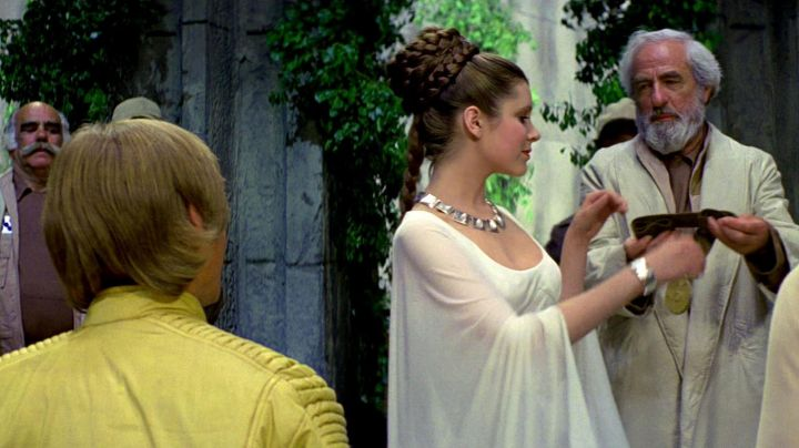 The wig of Princess Leia (Carrie Fisher) in Star Wars IV : A new hope Movie