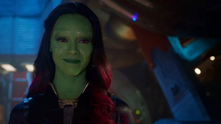 The wig of red hair of Gamora (Zoe Saldana) in The Guardians of the Galaxy Movie