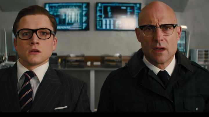 Tie navy blue Drake's Merlin (Mark Strong) in Kingsman : The golden circle - Movie Outfits and Products