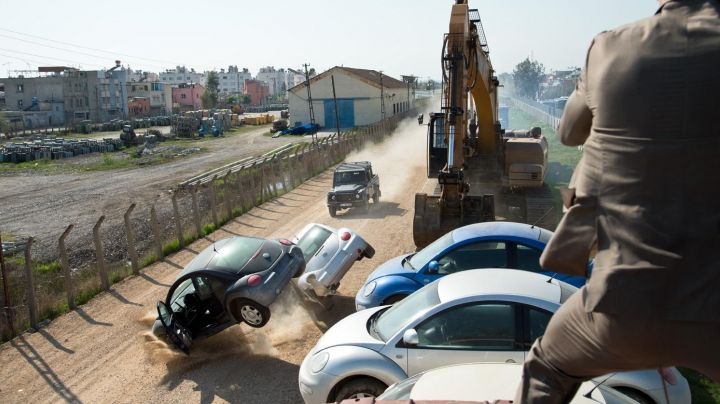Volkswagen New Beetles destroyed by James Bond (Daniel Craig) as seen in Skyfall - Movie Outfits and Products