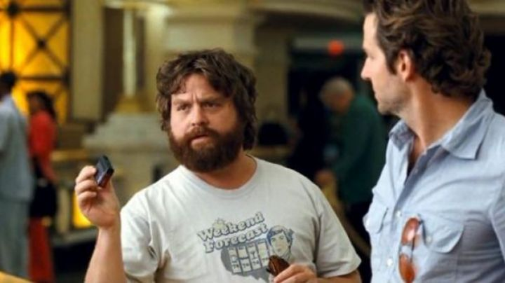 Fashion Trends 2021: Weekend Forecast t-shirt worn by Alan Garner (Zach Galifianakis) as seen in The Hangover