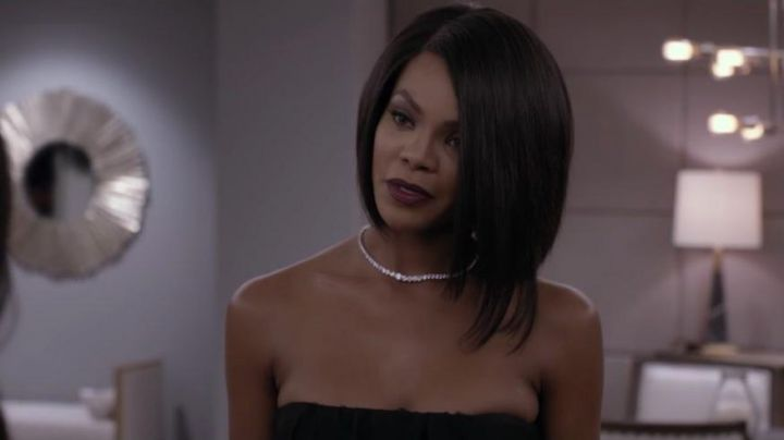 White Gold Diamond Tennis Necklace worn by Diana (Crystle Stewart) as seen in Acrimony - Movie Outfits and Products