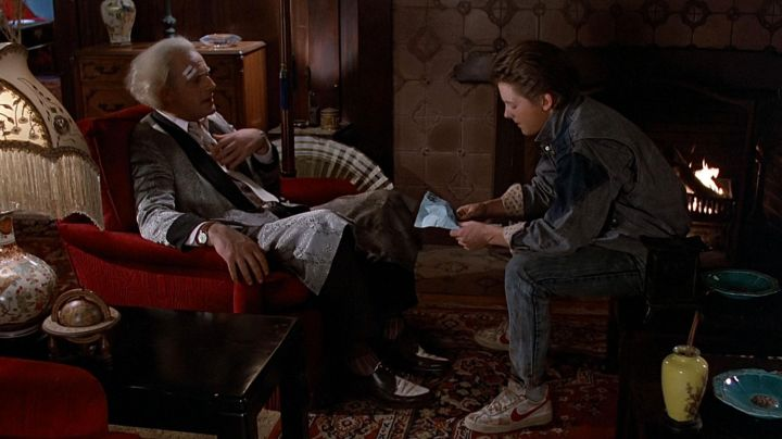 White Leather Nike Bruin shoes with red swoosh worn by Marty McFly (Michael J. Fox) as seen in Back to the Future - Movie Outfits and Products