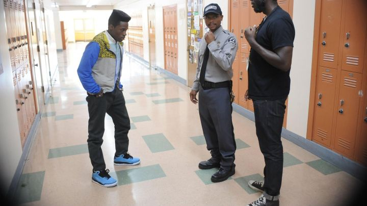 shoes jordan blue and black in the film Dope - Movie Outfits and Products