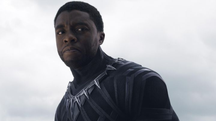 the collar of the costume of the Black Panther T Challa (Chadwik Boseman) in a Black Panther Movie