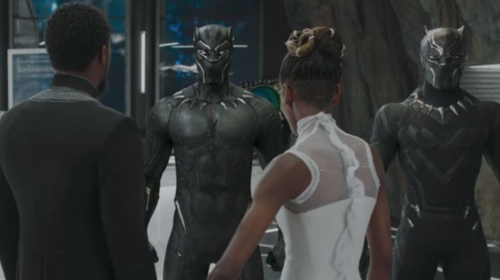 the costume of the Black Panther / T Challa (Chadwick Boseman) in a Black Panther - Movie Outfits and Products