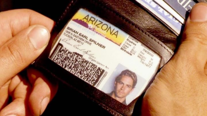 the driver's licence of Brian O'conner (Paul Walker) in Fast and Furious movie