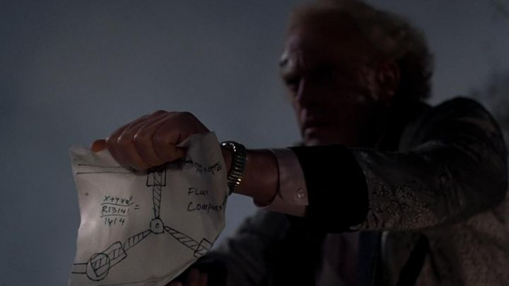 the plane of the Flux Capacitor from Doc Brown (Christopher Lloyd) in Back to the future movie