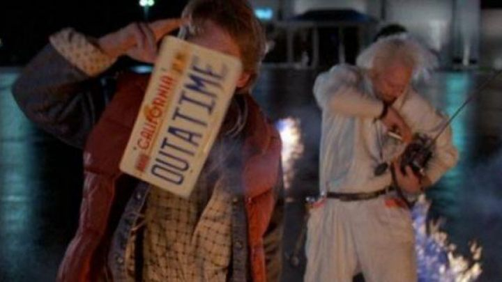"""the plate """"Out a time"""" of the Delorean time machine from Dr. Emmett Brown (Christopher Lloyd) in Back to the future Movie"""