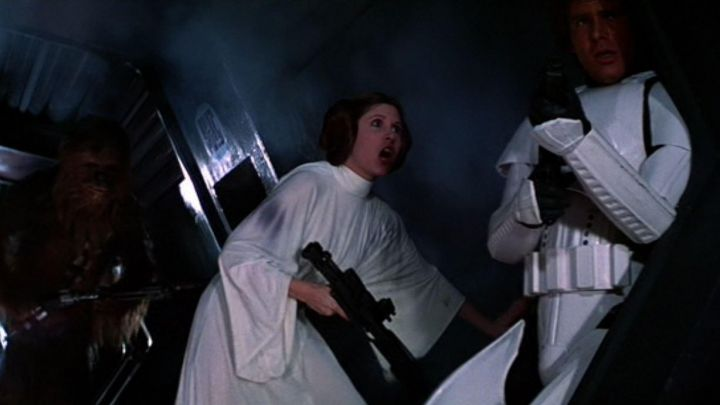 the white dress worn by Leia Organa (Carrie Fisher) in Star Wars IV : A new hope Movie