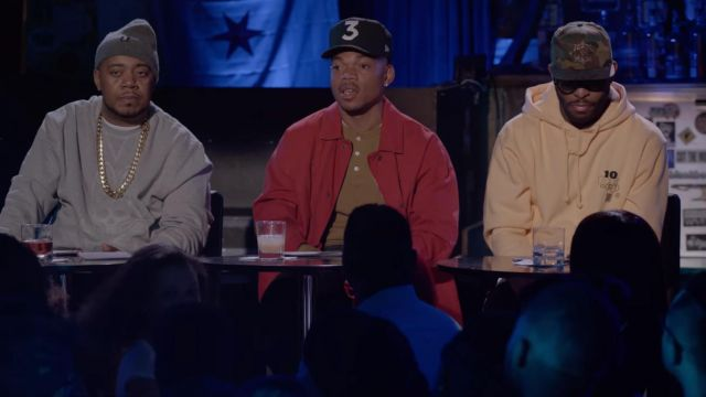 10 deep orange hoodie outfit worn by Lupe Fiasco in Rhythm + Flow (S01E04) - TV Show Outfits and Products