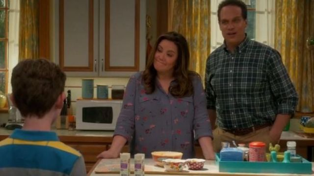 A blouse with flowers, Katie Otto (Katy Mixon) seen in American Housewife (Season 3 Episode 4) - TV Show Outfits and Products