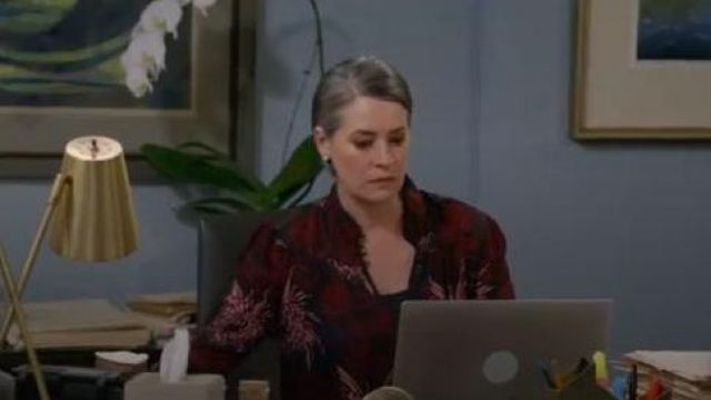 A.L.C Beatrix Floral Blouse outfit worn by Veronica (Paget Brewster) in Mom Season 07 Episode 06 - TV Show Outfits and Products