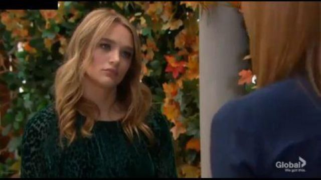 A.L.C. Green Velvet Dotted Top outfit worn by Summer Newman (Hunter King) as seen in The Young and the Restless October 3, 2019 - TV Show Outfits and Products