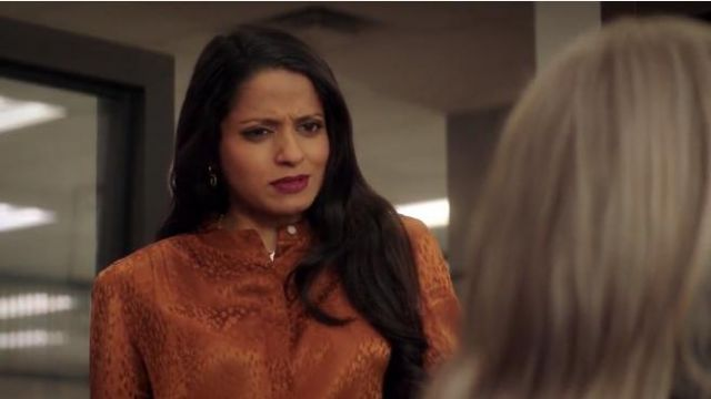 A.L.C. Owens Silk Jacquard Top. outfit worn by Loni Kampoor (Mouzam Makkar) in The Fix (S01E05) - TV Show Outfits and Products