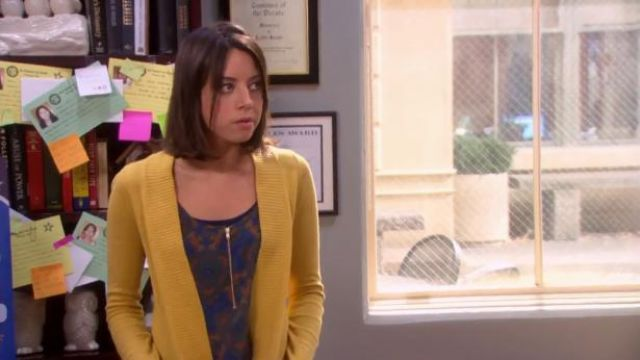 A.L.C. Print silk tank outfit worn by April Ludgate (Aubrey Plaza) in Parks and Recreation (S06E01) - TV Show Outfits and Products