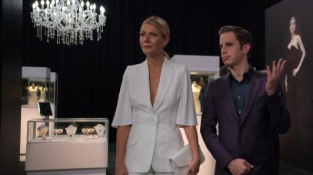 ALexander McQueen White Cape-effect crepe blazer outfit worn by Georgina Hobart (Gwyneth Paltrow) in The Politician Season 1 Episode 7 - TV Show Outfits and Products