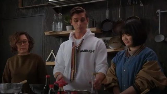 AMBUSH multi drawstring white hoodie outfit worn by Antoni Porowski in Queer Eye: We're in Japan! Season 1 Episode 3 - TV Show Outfits and Products