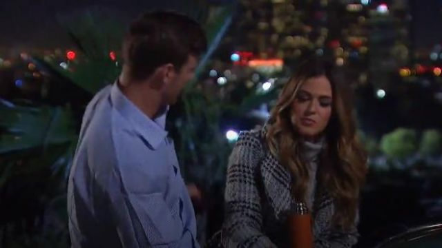 AMI Clubwear Black Grey Plaid Double Breasted Belted Outerwear outfit worn by JoJo Fletcher in The Bachelorette (S12E03) - TV Show Outfits and Products