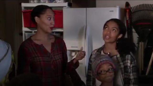 Ace Delivery Classic Plaid Henley outfit worn by Rainbow Johnson (Tracee Ellis Ross) in black-ish (Season 01 Episode 12) - TV Show Outfits and Products