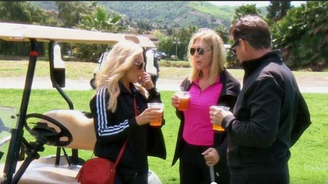 Adidas Black Adidas logo bomber jacket outfit worn by Tamra Judge in The Real Housewives of Orange County Season 14 Episoe 10 - TV Show Outfits and Products