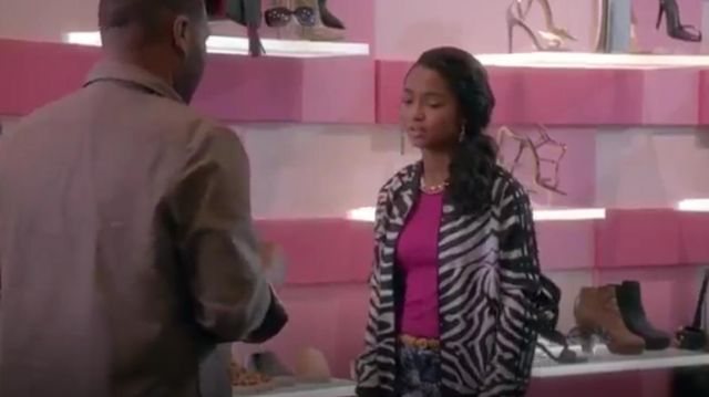 Adidas Supergirl Zebra Jacket outfit worn by Zoey Johnson (Yara Shahidi) in black-ish (Season01 Episode14) - TV Show Outfits and Products