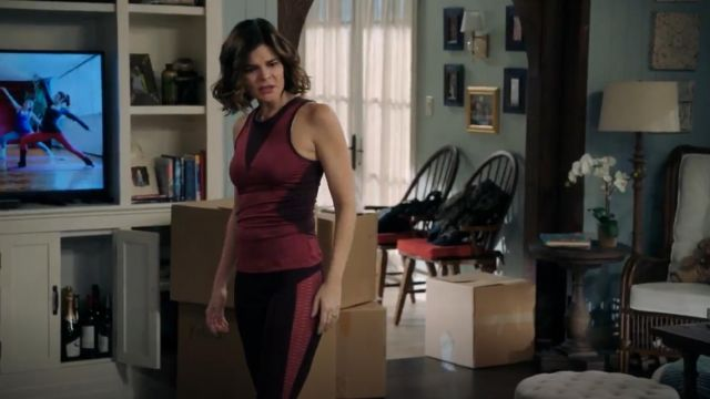 Fashion Trends 2021: Adidas by Stella McCartney Train High Neck Sleeveless Tank outfit worn by Heather (Betsy Brandt) in Life in Pieces (S03E06)
