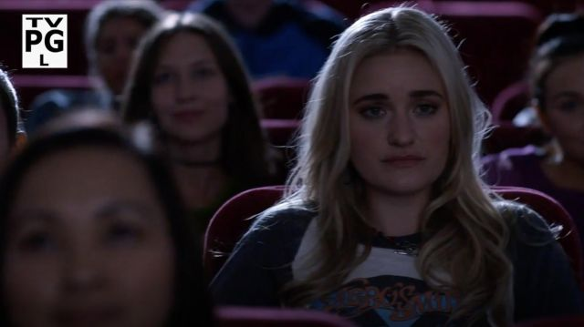 Fashion Trends 2021: Aerosmith Toys in the Attic 80's rock tour raglan t-shirt outfit seen on Lainey Lewis (AJ Michalka) in Schooled S01E02