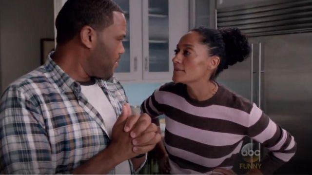 Ag Adriano Goldschmied Wales striped Sweater outfit worn by Rainbow Johnson (Tracee Ellis Ross) in black-ish (S02E02) - TV Show Outfits and Products