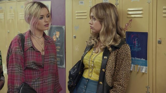 Fashion Trends 2021: Aimee Gibbs' (Aimee Lou Wood) leopard printed jacket as seen in Sex Education S01E03