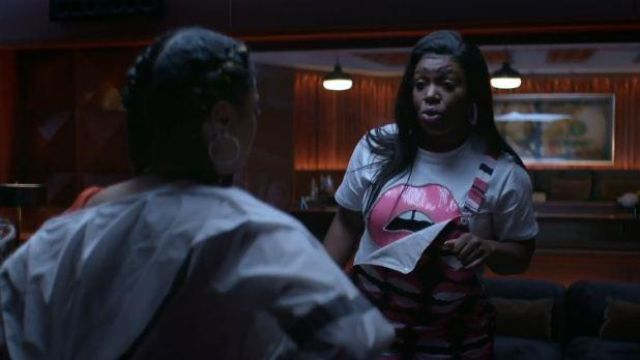 Akira White and Pink Embellished Lip Tee outfit worn by Porsha (Ta'Rhonda Jones) in Empire Season 06 Episoe 05 - TV Show Outfits and Products