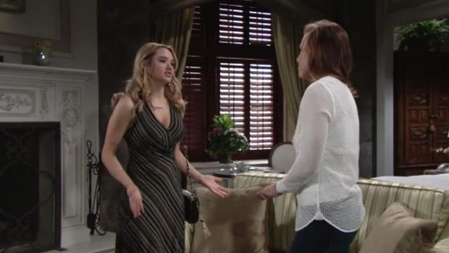 Aldo Dorolora Gold Crossbody Bag outfit worn by Hunter King as seen in The Young and the Restless May 2019 - TV Show Outfits and Products