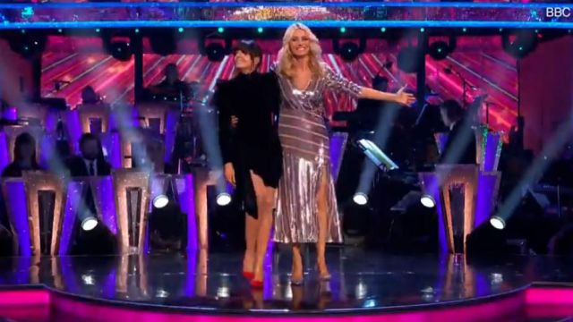 Alex Perry Black Draped Velvet Mini Dress outfit worn by Claudia Winkleman in Strictly Come Dancing Season07 - TV Show Outfits and Products