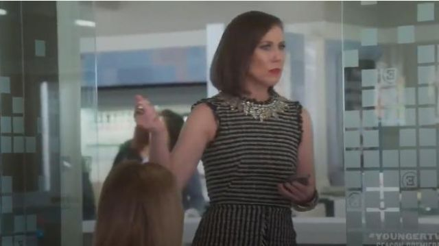 Alexander McQueen Crystal-Embroidered Tweed dress outfit worn by Diana Trout (Miriam Shor) in Younger (Season06 Episode01) - TV Show Outfits and Products