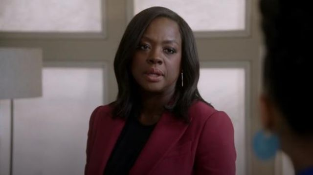 Alexander McQueen Red Wool-blend blazer outfit worn by Annalise Keating (Viola Davis) in How to Get Away with Murder Season 6 Episode 8 - TV Show Outfits and Products