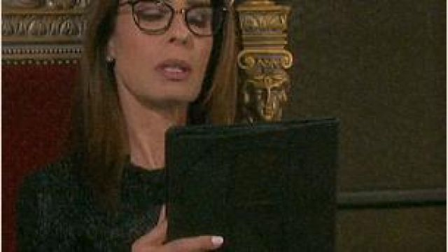 Alexander mcqueen Ruffle Trim Ribbed Cardigan outfit worn by Hope Brady (Kristian Alfonso) as seen on Days of Our Lives November 8, 2019 - TV Show Outfits and Products