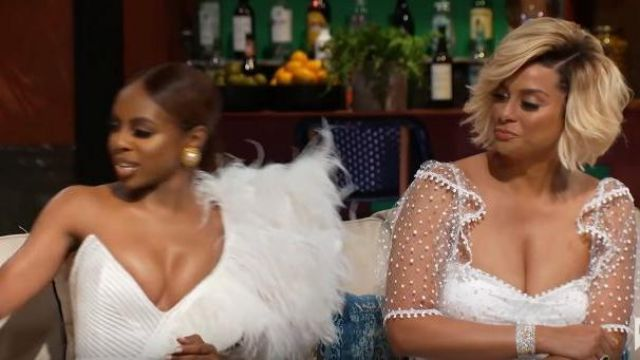 Alice McCall White Lace Sheer Sleeve Dress outfit worn by Robyn Dixon in The Real Housewives of Potomac Season 04 - TV Show Outfits and Products