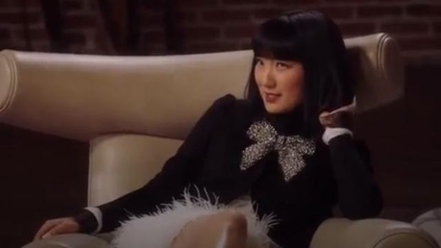 Alice + Olivia Black Addison Embellished Bow Jacket outfit worn by Mei Lin (Poppy Liu) in Sunnyside Season 1 Episode 2 - TV Show Outfits and Products