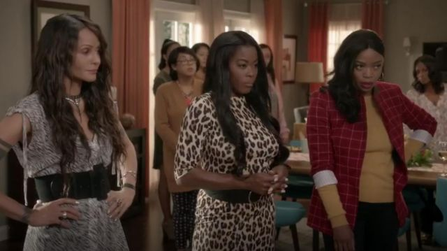 Alice + Olivia Delora Fitted Leopard Mock Neck Dress outfit worn by (Golden Brooks) in black-ish Season 6 Episode 3 - TV Show Outfits and Products