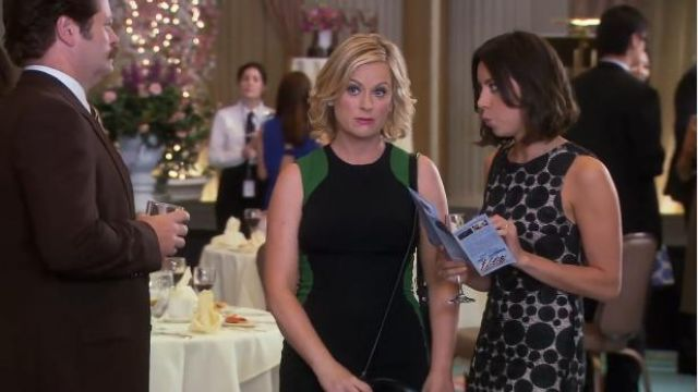 Alice + Olivia Dot Sleeveless Shift Dress outfit worn by April Ludgate (Aubrey Plaza) in Parks and Recreation (S06E01) - TV Show Outfits and Products