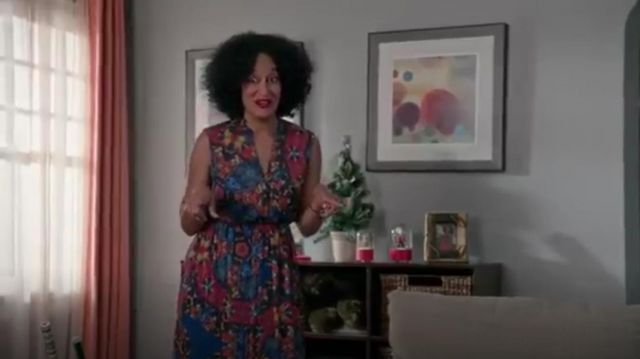 Alice + Olivia Marianna Printed Button Front Maxi Dress outfit worn by Rainbow Johnson (Tracee Ellis Ross) in black-ish (Season 01 Episode 10) - TV Show Outfits and Products