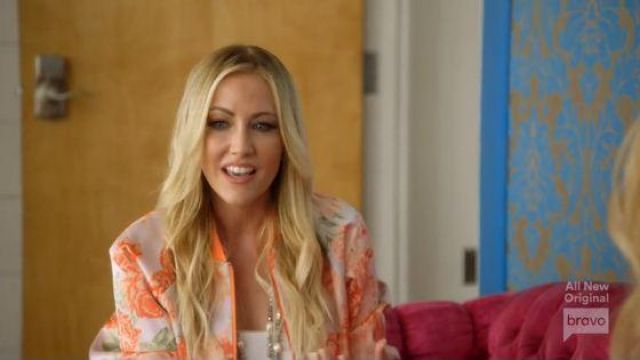 Alice + Olivia Orange Floral Bomber Jacket outfit worn by Stephanie Hollman in The Real Housewives of Dallas Season 04 Episode 11 - TV Show Outfits and Products