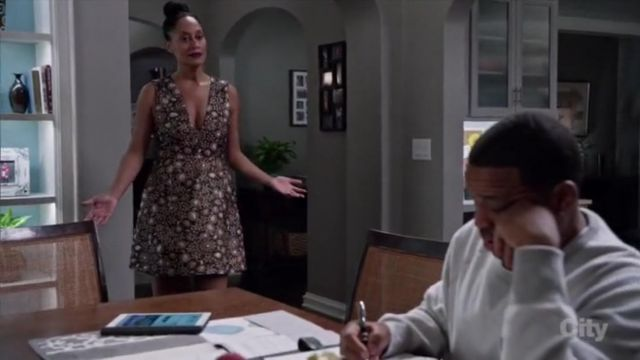 Alice + Olivia Pacey V Neck Metallic Brocade Dress outfit worn by Rainbow Johnson (Tracee Ellis Ross) in black-ish (Season 02 Episode 12) - TV Show Outfits and Products