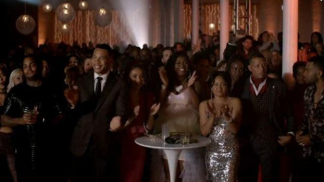 Alice + Olivia Silver Sequin Dress outfit worn by Maya(Rhyon Nicole Brown) in Empire Season 06 Episode 05 - TV Show Outfits and Products