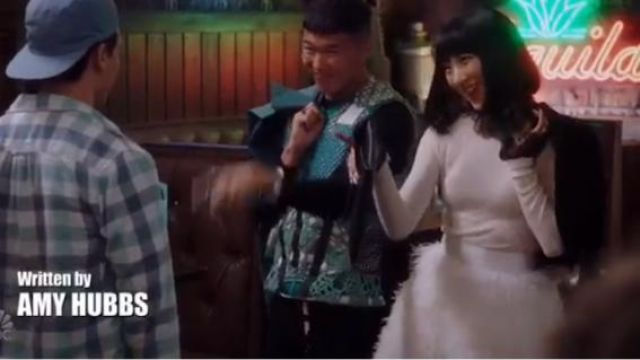 Alice + Olivia White Feather Skirt outfit worn by Mei Lin (Poppy Liu) in Sunnyside Season 1 Episode 2 - TV Show Outfits and Products