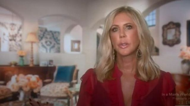 Alice + Olivia pink ruffled blouse outfit worn by Herself (Vicki Gunvalson) in The Real Housewives of Orange County Season 14 Episode 9 - TV Show Outfits and Products