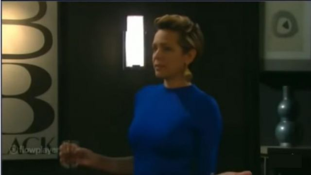 Alice + olivia Blue Fitted Mockneck Dress outfit worn by Nicole Walker (Arianne Zucker) as seen on Days of Our Lives November 12, 2019 - TV Show Outfits and Products